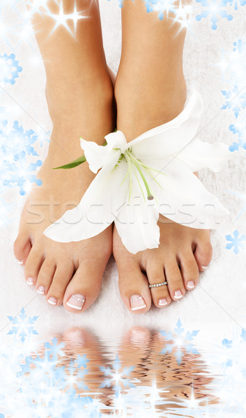 feet with madonna lily and water Stock photo © dolgachov
