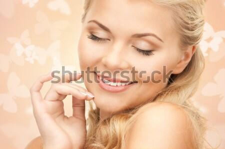 Roze lelie meisje gelukkig vrouw bloemen Stockfoto © dolgachov
