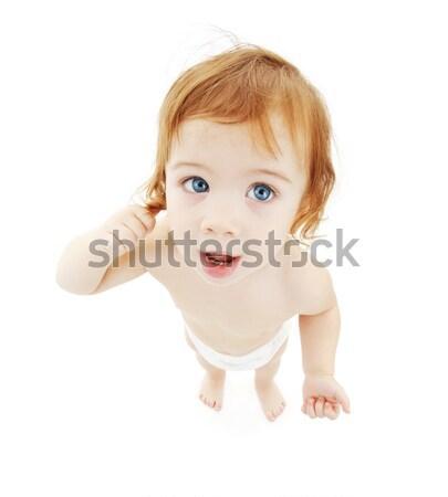 Baba fiú pelenka kép fehér gyermek Stock fotó © dolgachov