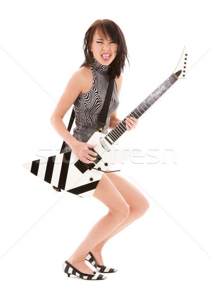 Rock babe foto meisje elektrische gitaar witte Stockfoto © dolgachov