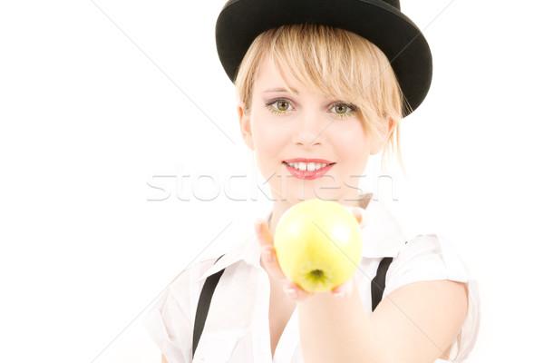 Groene appel heldere foto blond vrouw Stockfoto © dolgachov