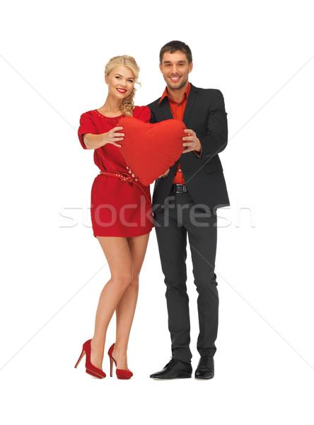Mooie paar groot hart heldere Stockfoto © dolgachov