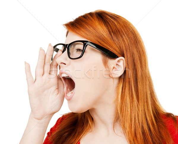 Schreeuwen vrouw business heldere foto student Stockfoto © dolgachov