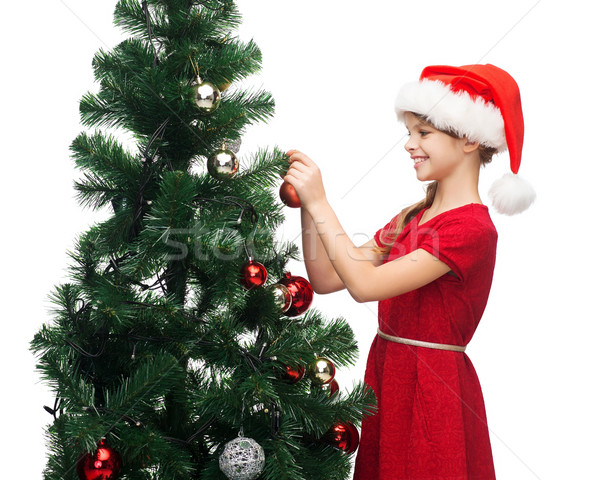 Glimlachend meisje helper hoed boom Stockfoto © dolgachov