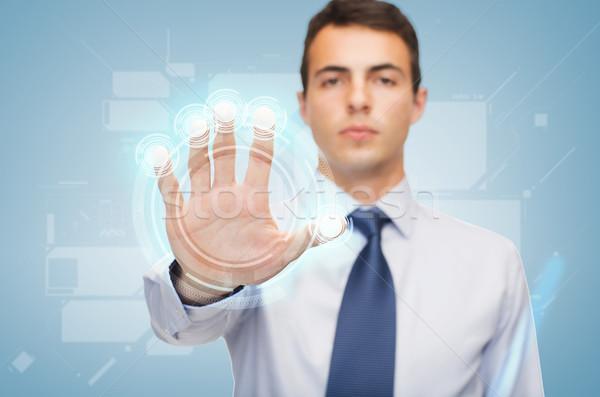 Сток-фото: привлекательный · рабочих · виртуальный · экране · бизнеса · служба