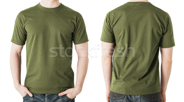 man in blank khaki t-shirt, front and back view Stock photo © dolgachov