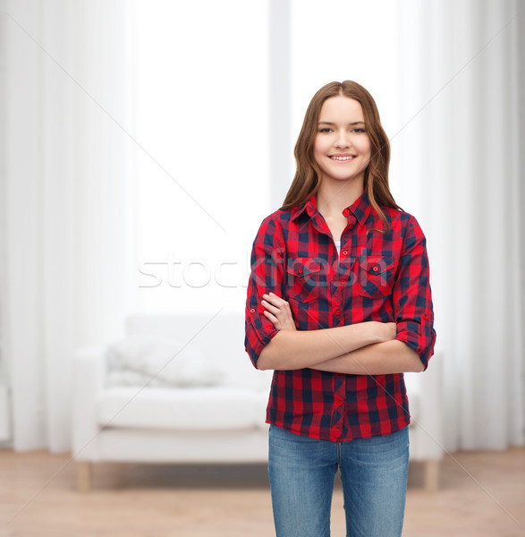 smiling young woman in casual clothes Stock photo © dolgachov