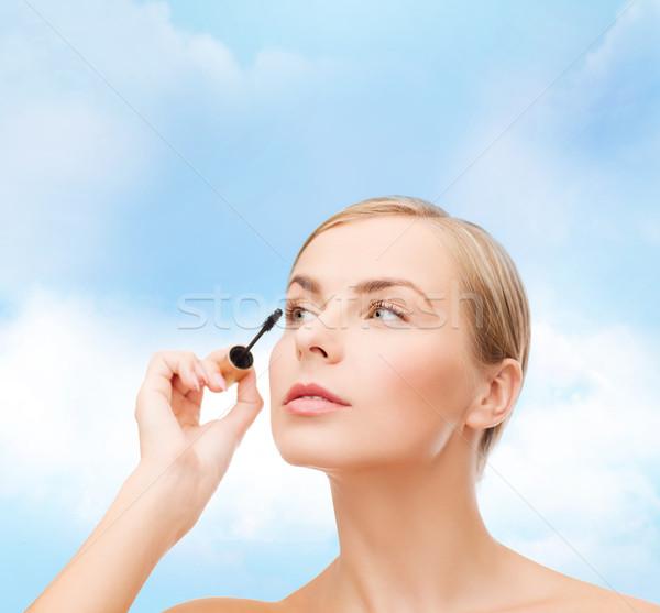 美人 マスカラ 化粧品 健康 美 青 ストックフォト © dolgachov