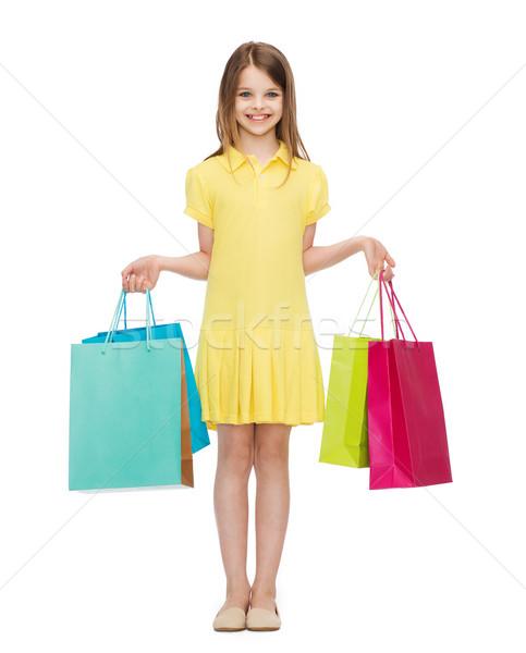Glimlachend meisje jurk winkelen geluk Stockfoto © dolgachov