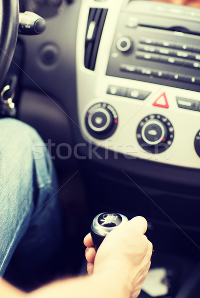 man shifting the gear on car manual gearbox Stock photo © dolgachov
