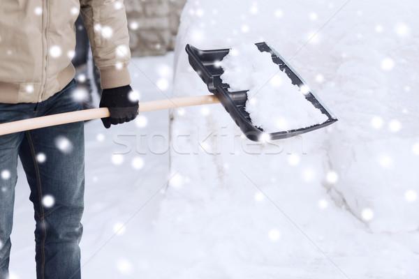 Közelkép férfi hó ásó autó közlekedés Stock fotó © dolgachov