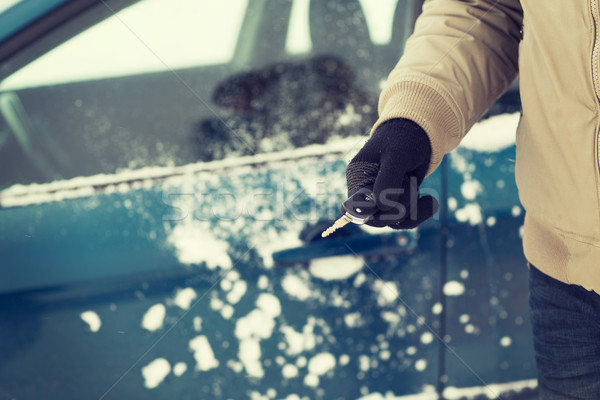 closeup of man hand with car key outdoors Stock photo © dolgachov