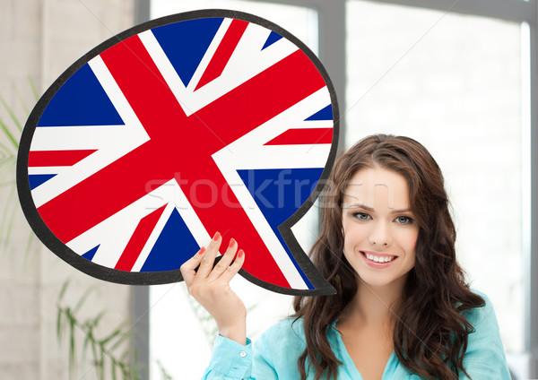 Mosolygó nő szöveg buborék brit zászló oktatás külföldi Stock fotó © dolgachov