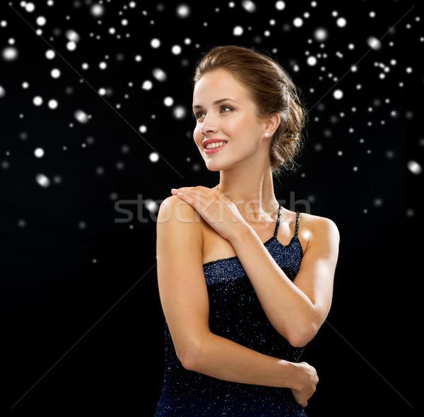 笑顔の女性 イブニングドレス 人 休日 魅力 黒 ストックフォト © dolgachov