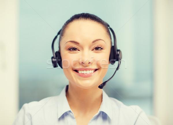 женщины телефон доверия оператор наушники бизнеса связи Сток-фото © dolgachov