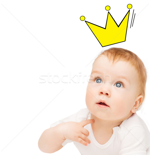 close up of happy baby with crown doodle Stock photo © dolgachov