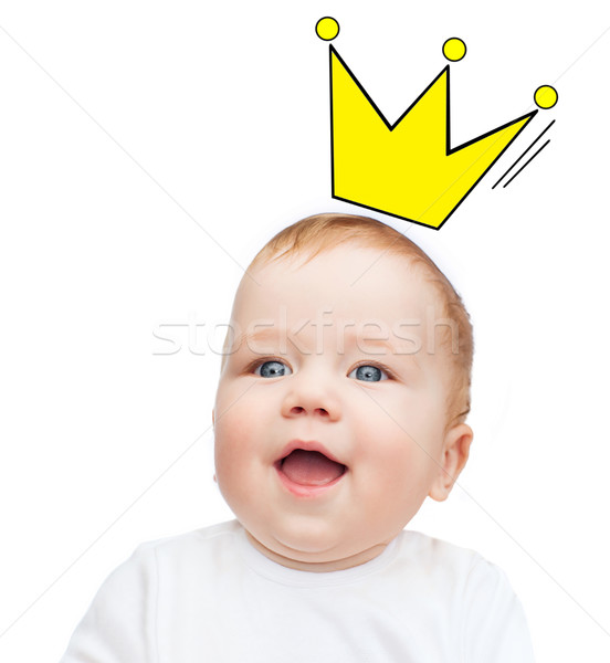close up of happy smiling baby with crown doodle Stock photo © dolgachov