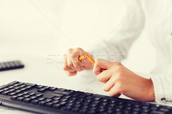 woman breaking pencil Stock photo © dolgachov