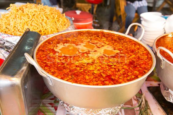 Pot baharatlı çorba sokak pazar pişirme Stok fotoğraf © dolgachov