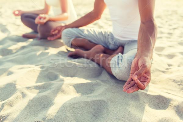 Foto stock: Casal · ioga · ao · ar · livre · fitness