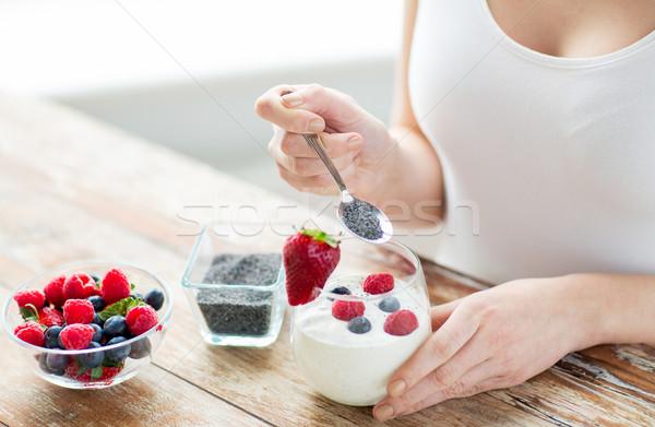 Kadın eller yoğurt karpuzu sağlıklı beslenme Stok fotoğraf © dolgachov