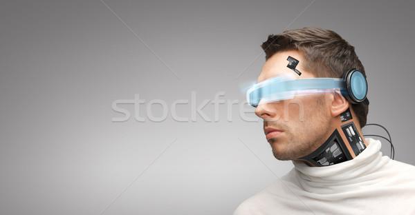 Férfi futurisztikus szemüveg emberek technológia jövő Stock fotó © dolgachov