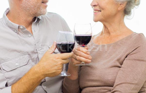 Stock fotó: Közelkép · boldog · idős · pár · vörösbor · család · ünnepek