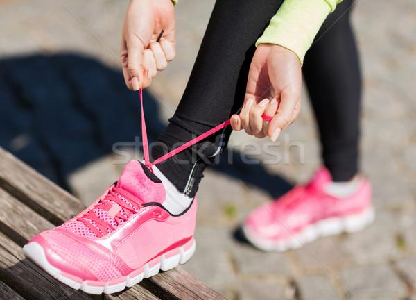 Corredor mujer entrenadores zapatos deporte fitness Foto stock © dolgachov