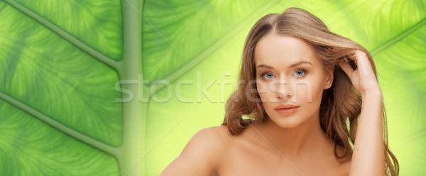 Bela mulher cara longo loiro cabelo pessoas Foto stock © dolgachov