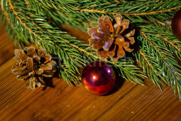 Abeto rama Navidad pelota decoración vacaciones Foto stock © dolgachov