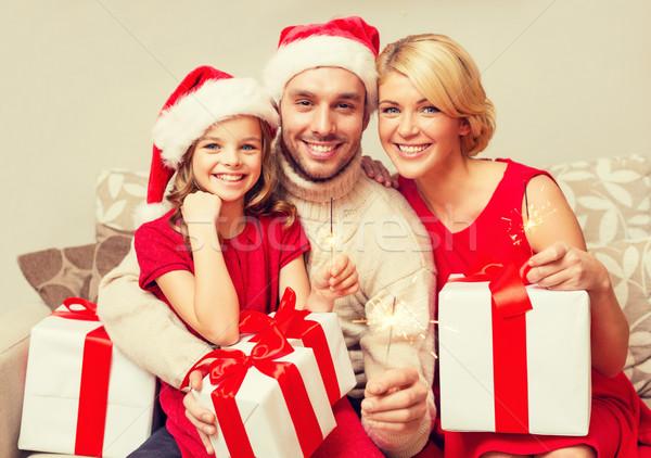улыбаясь семьи Рождества рождество Сток-фото © dolgachov