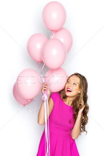 Feliz muchacha adolescente rosa vestido belleza Foto stock © dolgachov