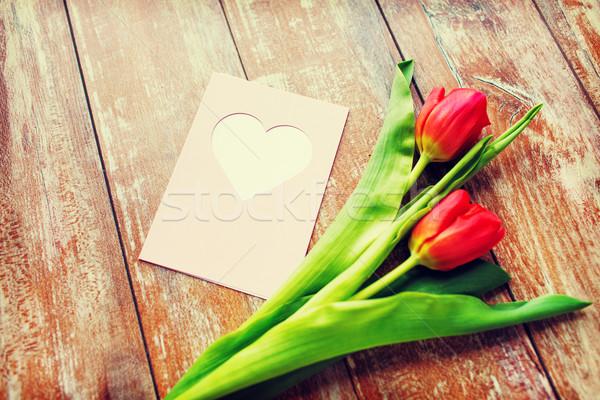Сток-фото: тюльпаны · сердце · приветствие