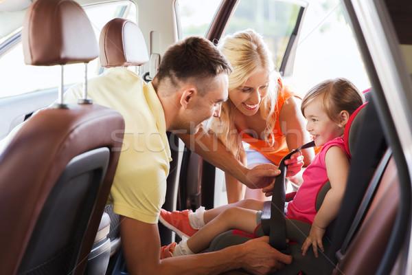 Glücklich Eltern Kind Auto Sitz Gürtel Stock foto © dolgachov