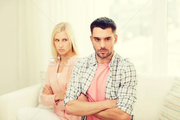Nieszczęśliwy para argument domu ludzi stosunku Zdjęcia stock © dolgachov