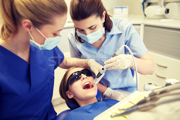 female dentists treating patient girl teeth Stock photo © dolgachov
