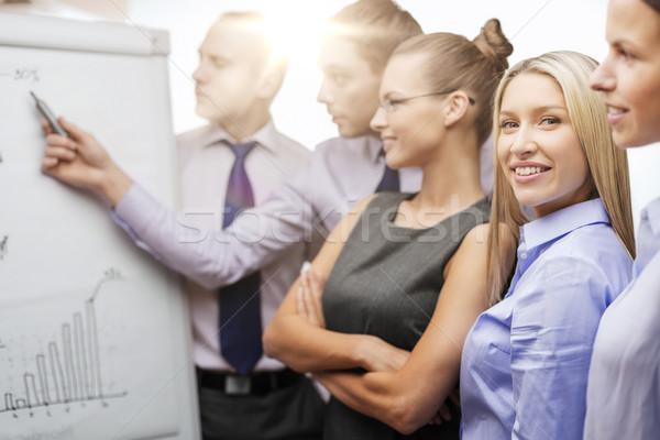 Equipo de negocios bordo debate negocios oficina sonriendo Foto stock © dolgachov