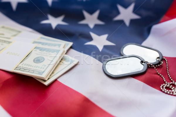 Amerikai zászló dollár pénz katonaság jelvények erők Stock fotó © dolgachov