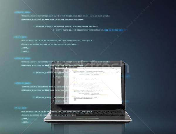 Laptop számítógép kódolás képernyő technológia programozás szürke Stock fotó © dolgachov