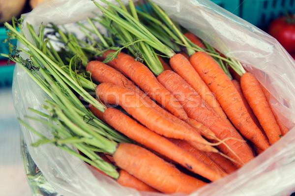 Carota plastica bag strada mercato Foto d'archivio © dolgachov