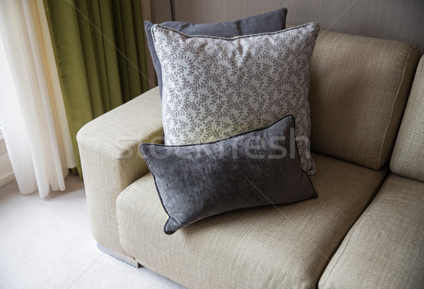 close up of couch with cushions at home Stock photo © dolgachov