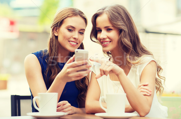 young women with smartphone and coffee at cafe Stock photo © dolgachov