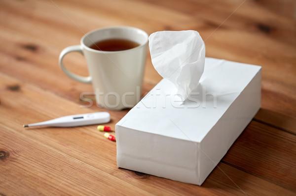 Кубок чай бумаги термометра таблетки здравоохранения Сток-фото © dolgachov