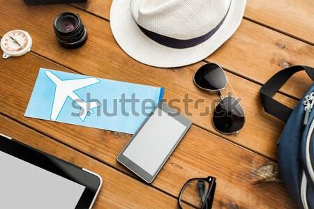 smartphone, airplane ticket and personal stuff Stock photo © dolgachov