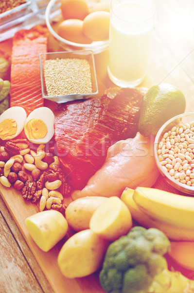 Stock fotó: Közelkép · különböző · étel · asztal · kiegyensúlyozott · étrend · főzés
