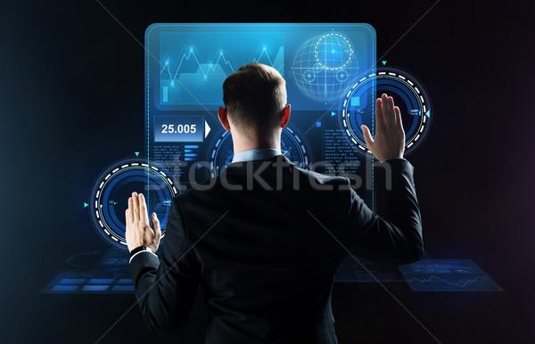 ビジネスマン 作業 バーチャル ビジネスの方々  技術 サイバースペース ストックフォト © dolgachov