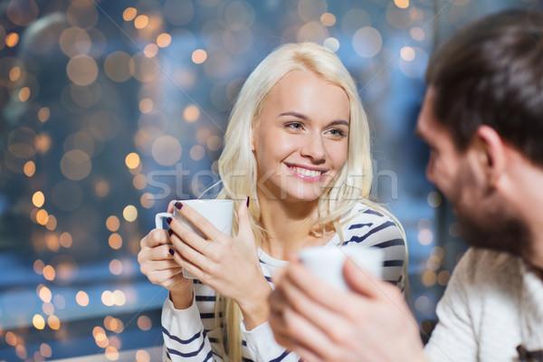 Felice Coppia riunione bere tè caffè Foto d'archivio © dolgachov