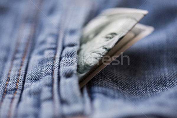 Dollar geld zak denim jas financieren Stockfoto © dolgachov