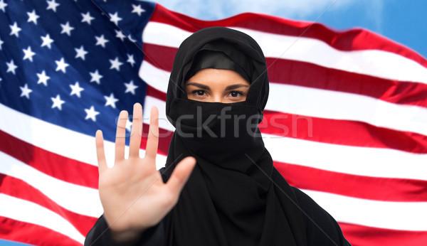 Müslüman kadın başörtüsü dur işareti jest Stok fotoğraf © dolgachov