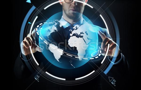 ビジネスマン 地球 投影 ビジネスの方々  技術 ストックフォト © dolgachov